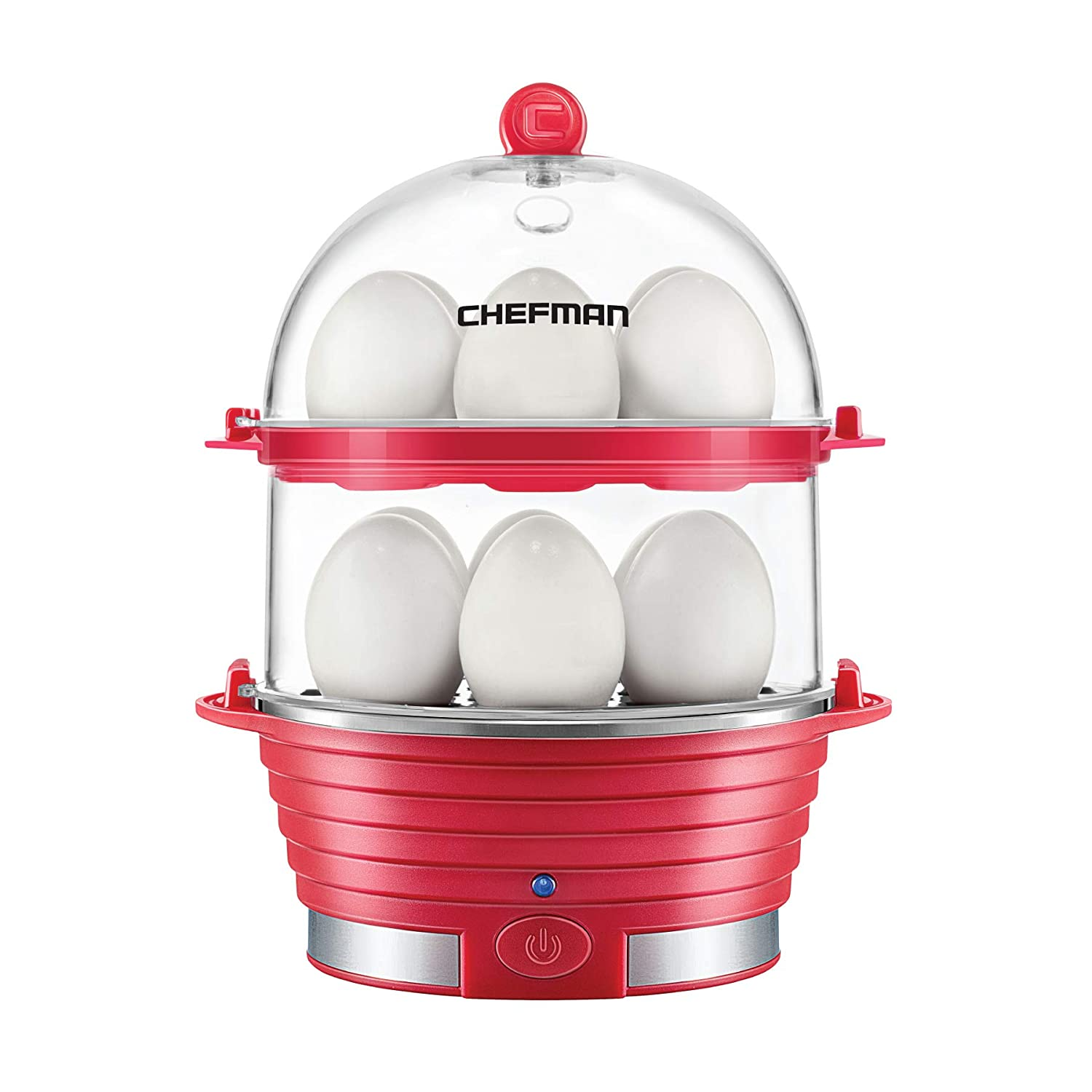 Chefman Electric Egg Cooker Boiler, Rapid Egg-Maker & Poacher, Food & Vegetable Steamer, Quickly Makes 12 Eggs, Hard or Soft Boiled, Poaching and Omelet Trays Included, Ready Signal, BPA-Free, Red