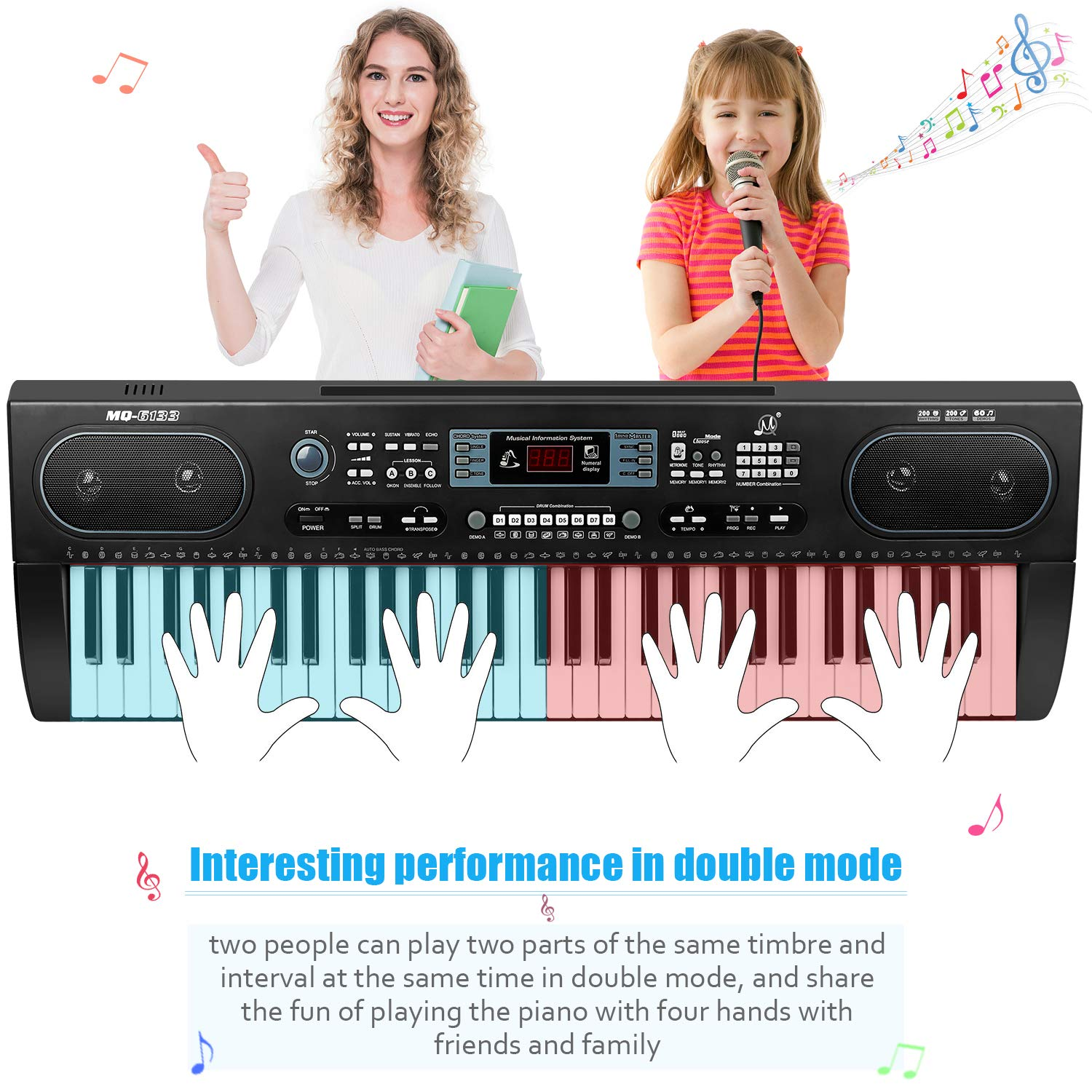 ZJTL 61-Key Digital Electric Piano Keyboard &Music Stand &microphone- Portable Electronic Keyboard (Kids & Adults) MQ-6133 by ZJTL (Image #3)