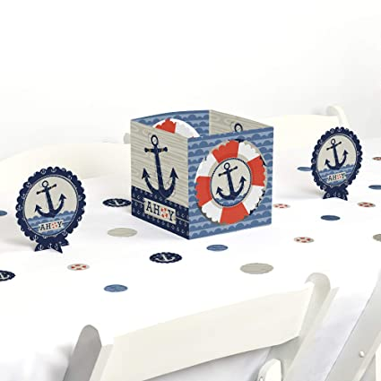 Amazon Com Big Dot Of Happiness Ahoy Nautical Baby Shower Or