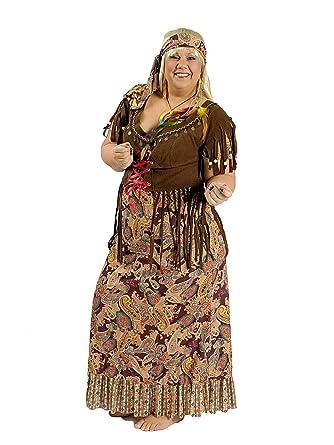e431318a2582 Disfraz hippie en tallas grandes para mujer, vestido largo para ...