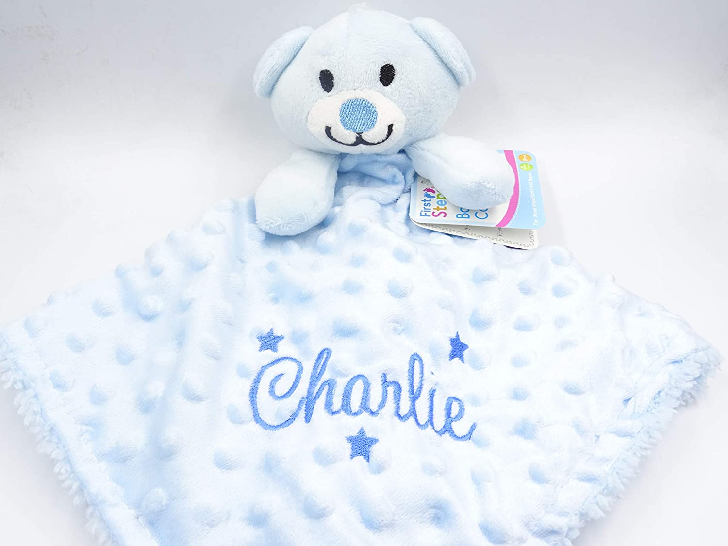 Personalised deluxe love heart  BABY name Embroidered Dimpled Baby Blanket