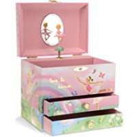 Jewelkeeper Ballerina and Rainbow Musical Jewelry Box with 2 Pullout Drawers, Swan Lake Tune