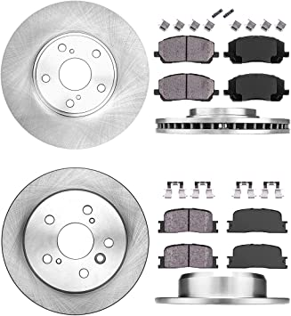 Ceramic Brake Pads 4 Clips REAR 302 mm Premium OE 5 Lug 2 Brake Disc Rotors +
