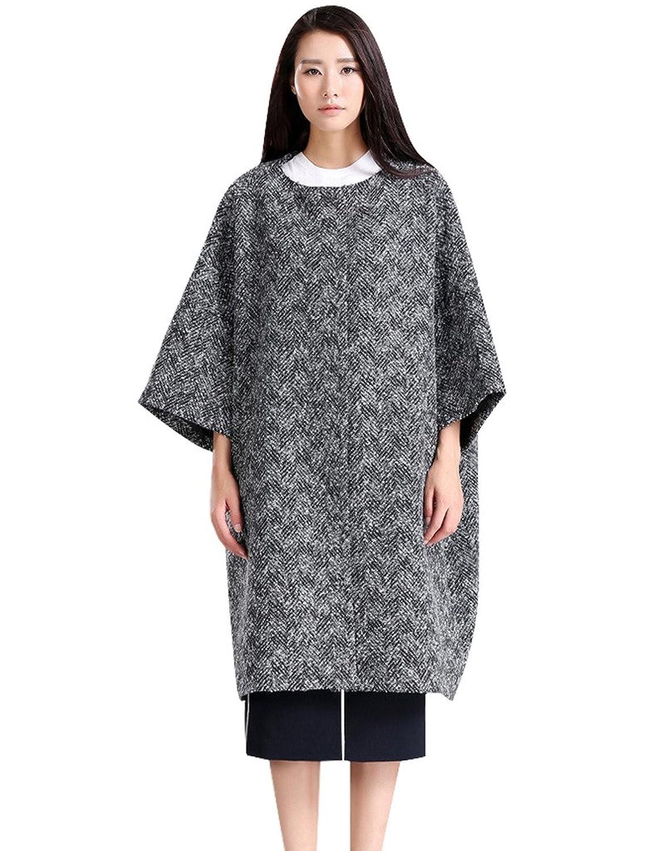 Youlee Damen Winter Round Collar Einreiher Mantel Wollmantel