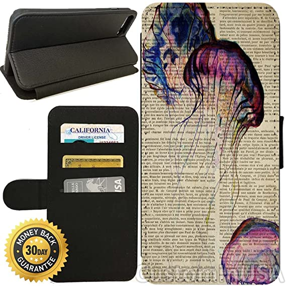 Flip Wallet Case for iPhone 8 (Jellyfish on Vintage Text) with Adjustable Stand and