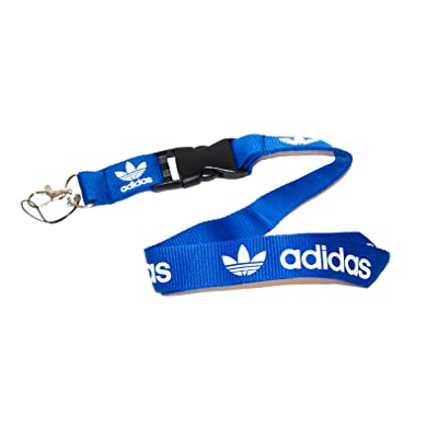 Blue & White Logo Keychain Key Chain Black Lanyard Clip with Webbing Strap Quick Release Buckle (PCK-014): Automotive