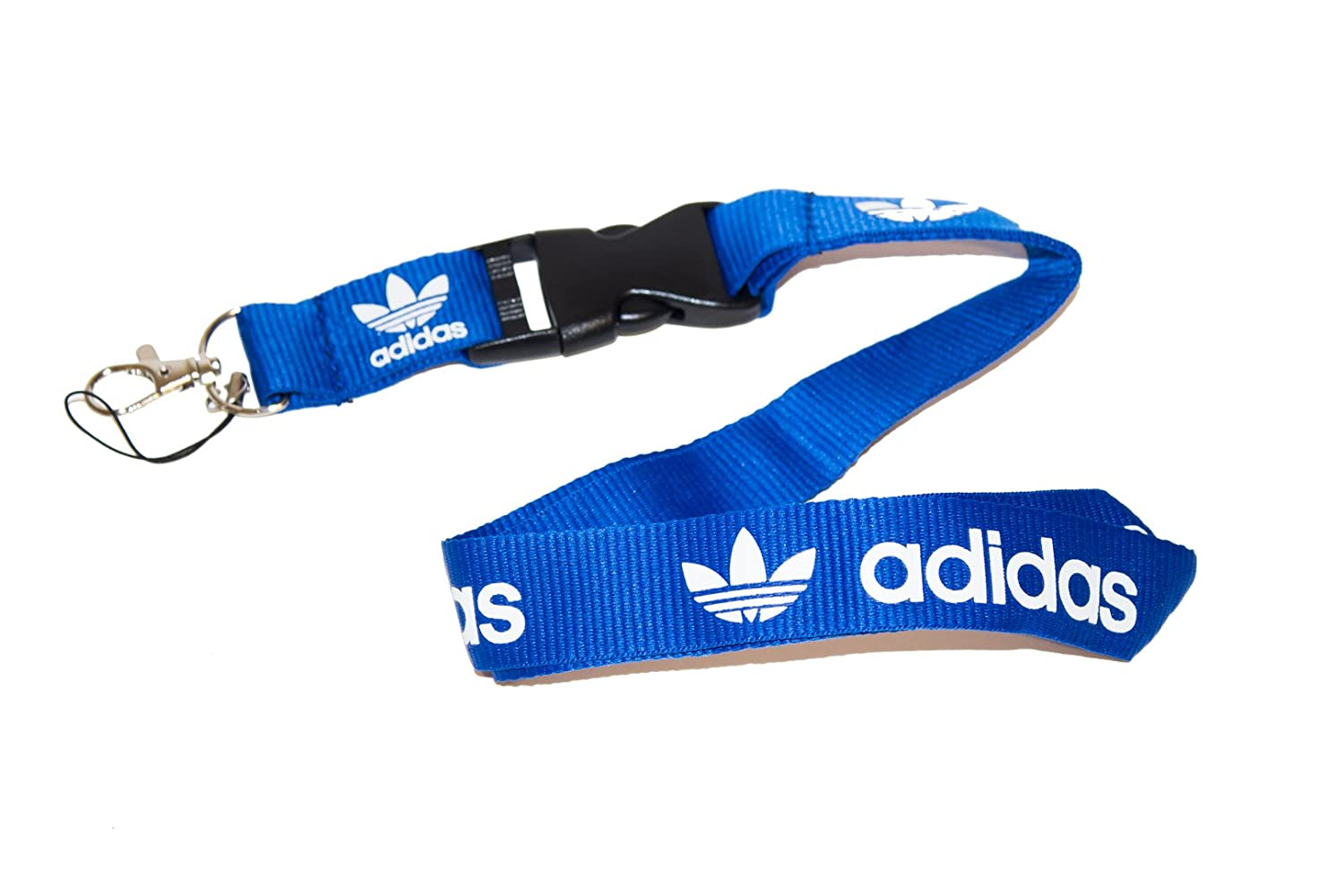 PCK-014 Blue /& White Logo Keychain Key Chain Black Lanyard Clip with Webbing Strap Quick Release Buckle