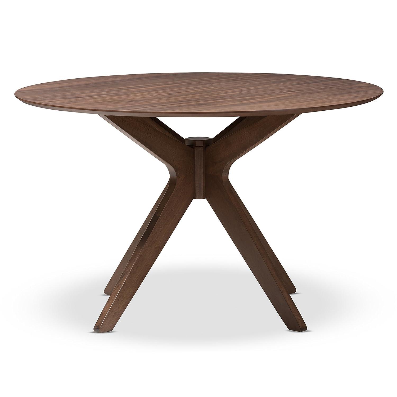 Amazon com baxton studio lyla mid century modern walnut wood 47 inch round dining table walnut brown tables