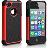 Pasonomi iPhone 4 Case-Premium Heavy Duty Hybrid Shockproof Water Dust Resistant Armor Cover for Apple iPhone 4S/4 (Red)