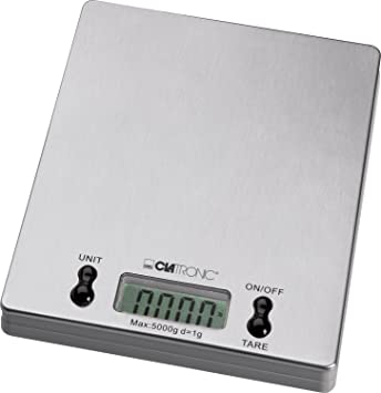Clatronic KW 3367 Báscula de Cocina Digital, 5 kg Pasos 1 g, función Tara, Acero Inoxidable: Clatronic: Amazon.es: Hogar