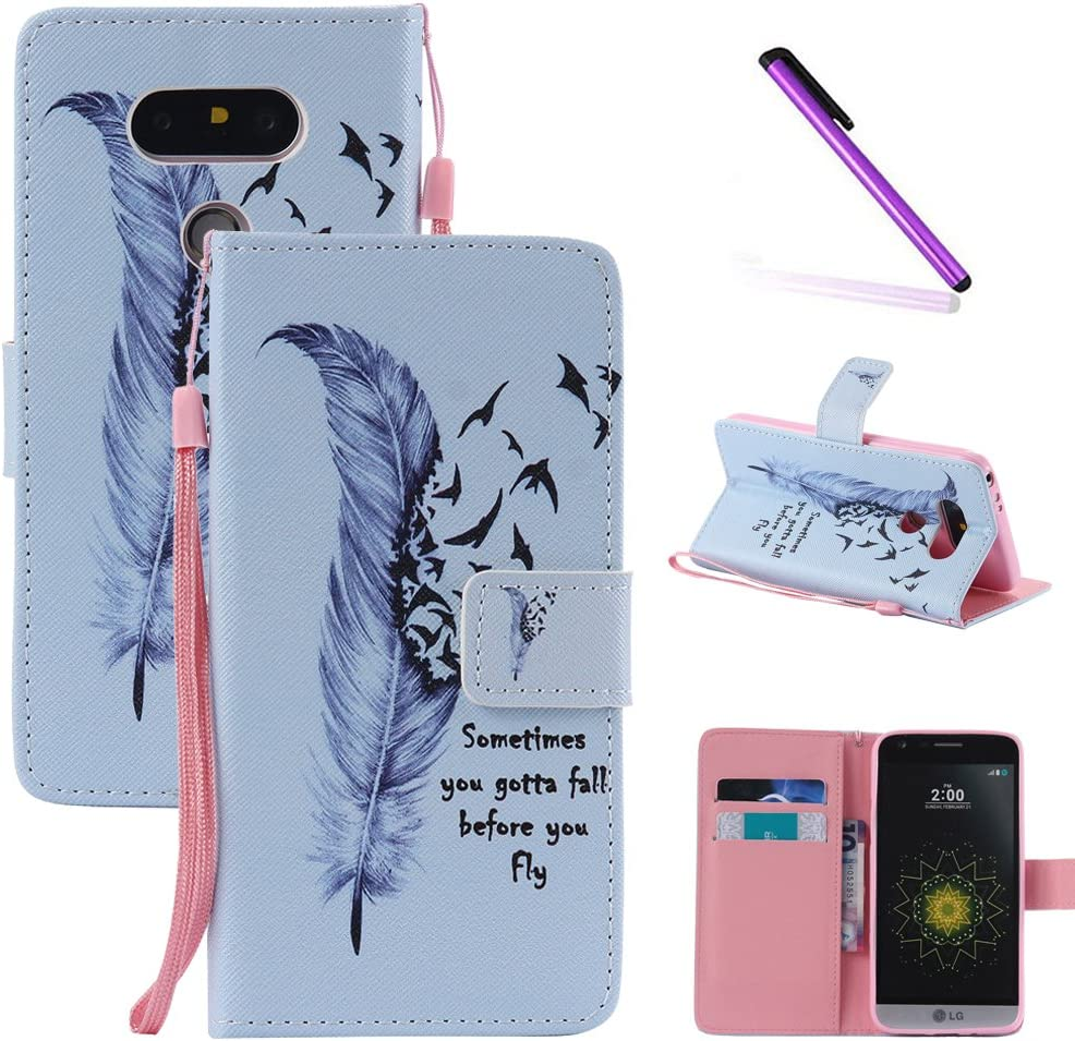 LG G5 Case,LEECOCO Fancy Paint Floral Pattern Wallet Case with Card / Cash Slots [Kickstand] Shockproof Premium PU Leather Flip Stand Case Cover for LG G5 - White Feather Dayan