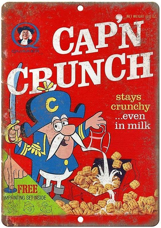 Generies Capn Crunch caja de cereales, cartel de lata de estilo industrial retro mural de bar de personalidad creativa, tienda de té, barbería, sala de estar, decoración de pared: Amazon.es: Hogar
