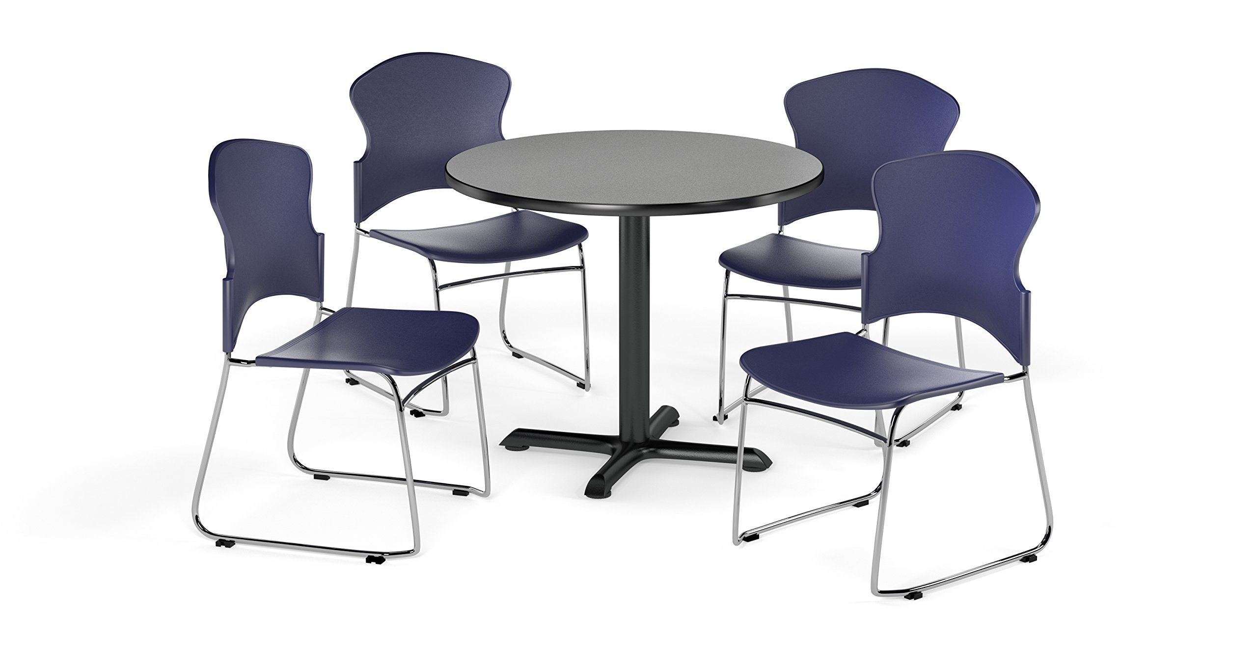 OFM PKG-BRK-033-0008 Breakroom Package, Gray Nebula Table/Navy Chair