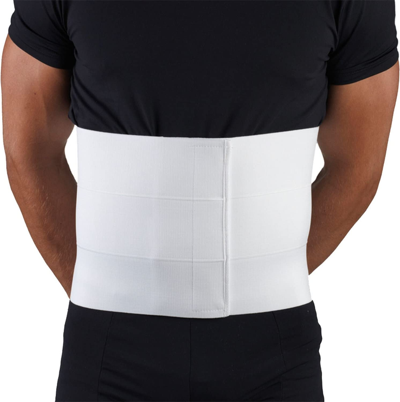 Small White OTC Three-Panel Body Elastic Abdominal Binder for Men