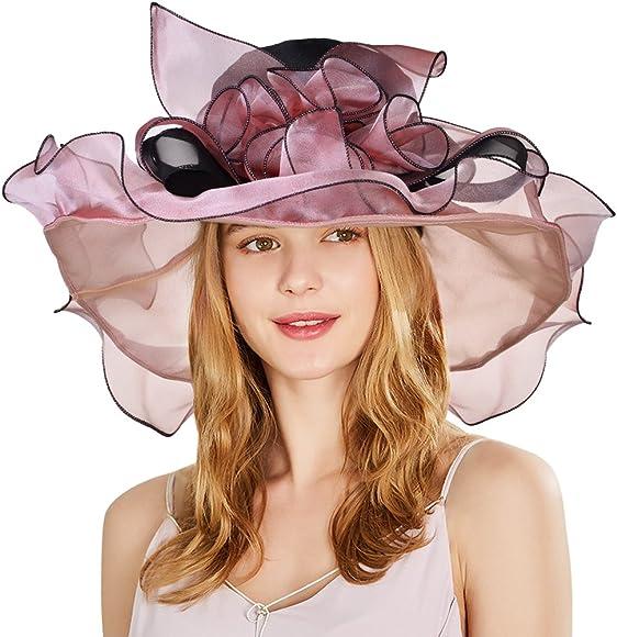 b46f52eada314 Vbiger Kentucky Derby Hats Church Hat Organza Tea Party Wedding Hat  (Champagne Red)