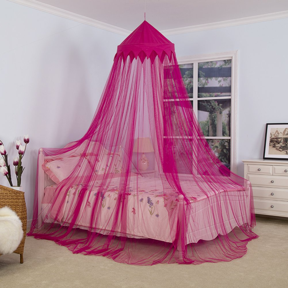 Children Denser Polyester Door Opening Floor-Length Mosquito Net Dome Crown Bed Canopy for Kids Round Princess Tent Lace Netting Bedding for Girls with Sparkly Hearts For Girls, Kids & Baby feiledi Trade