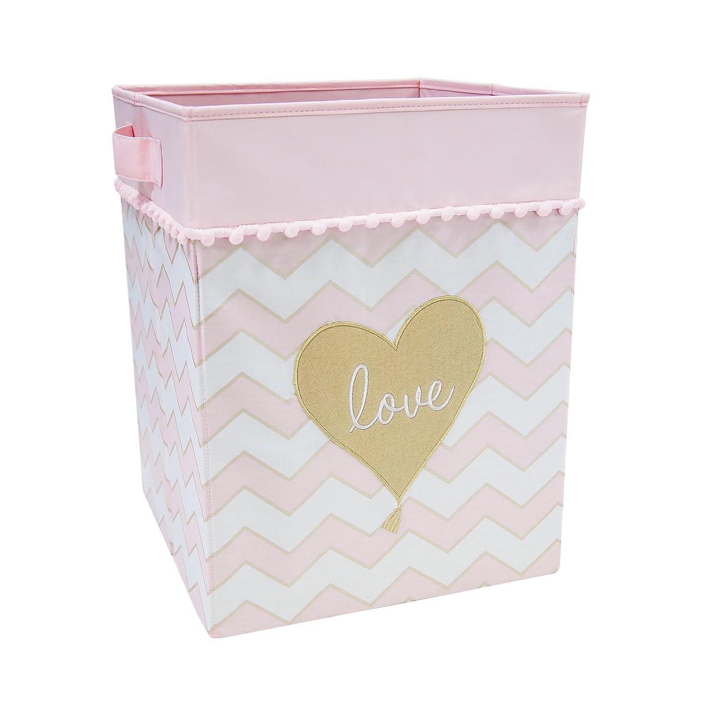 Lambs & Ivy Baby Love Storage/Hamper - Gold/Pink/White Heart Love Theme