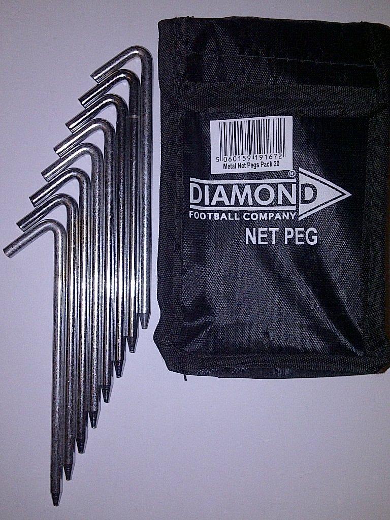 20 x DIAMOND FOOTBALL HEAVY DUTY NET PEG & CARRY BAG