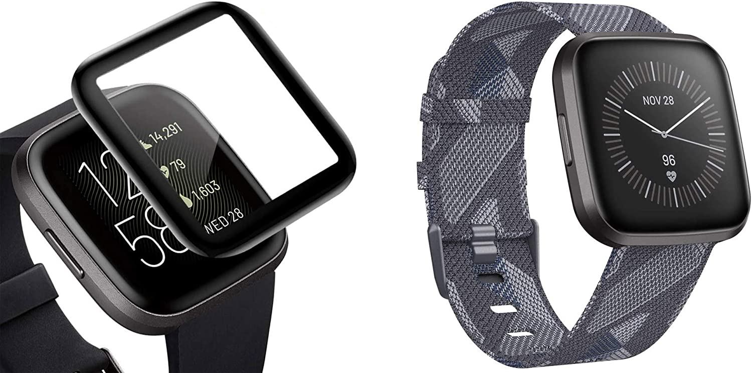 CAVN 4 Pcs Screen Protector and 1 Pc Woven Band Compatible for Fitbit Versa 2 Smart watch