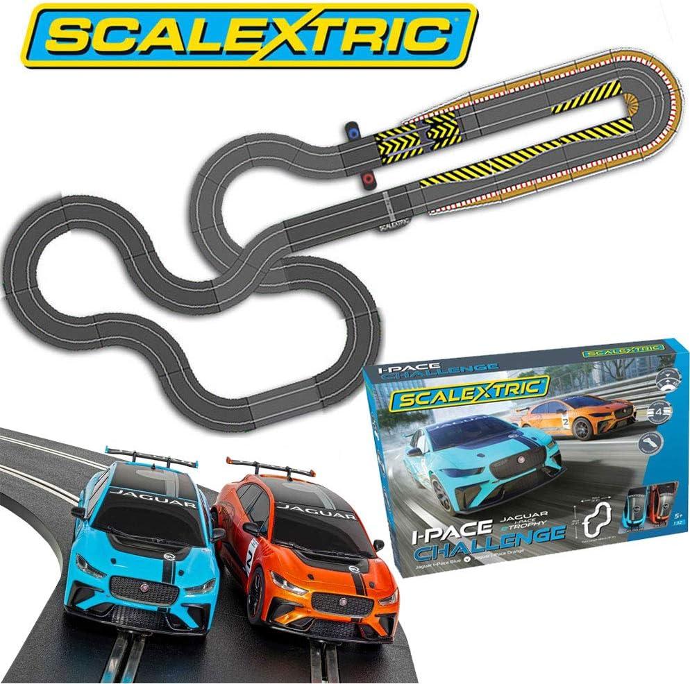 Scalextric Bundle SL93 Jaguar I-Pace Challenge Set C1401 Extra Track Kit Extension