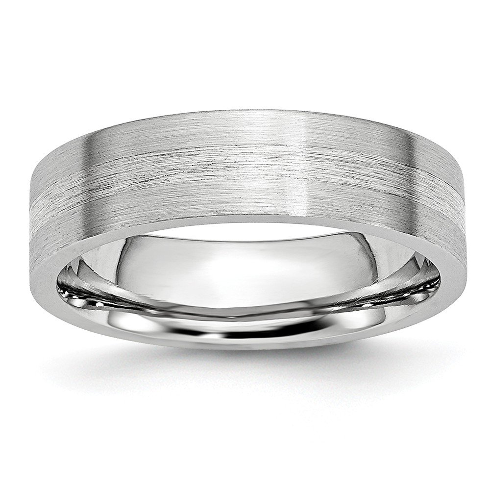 JewelryWeb Cobalt Chromium 925 Sterling Silver Engravable Inlay Satin 6mm Band Ring 10 10.5 11 11.5 12 12.5 13 7 7.5 8 8.5 9 9.5 Ring Size Options