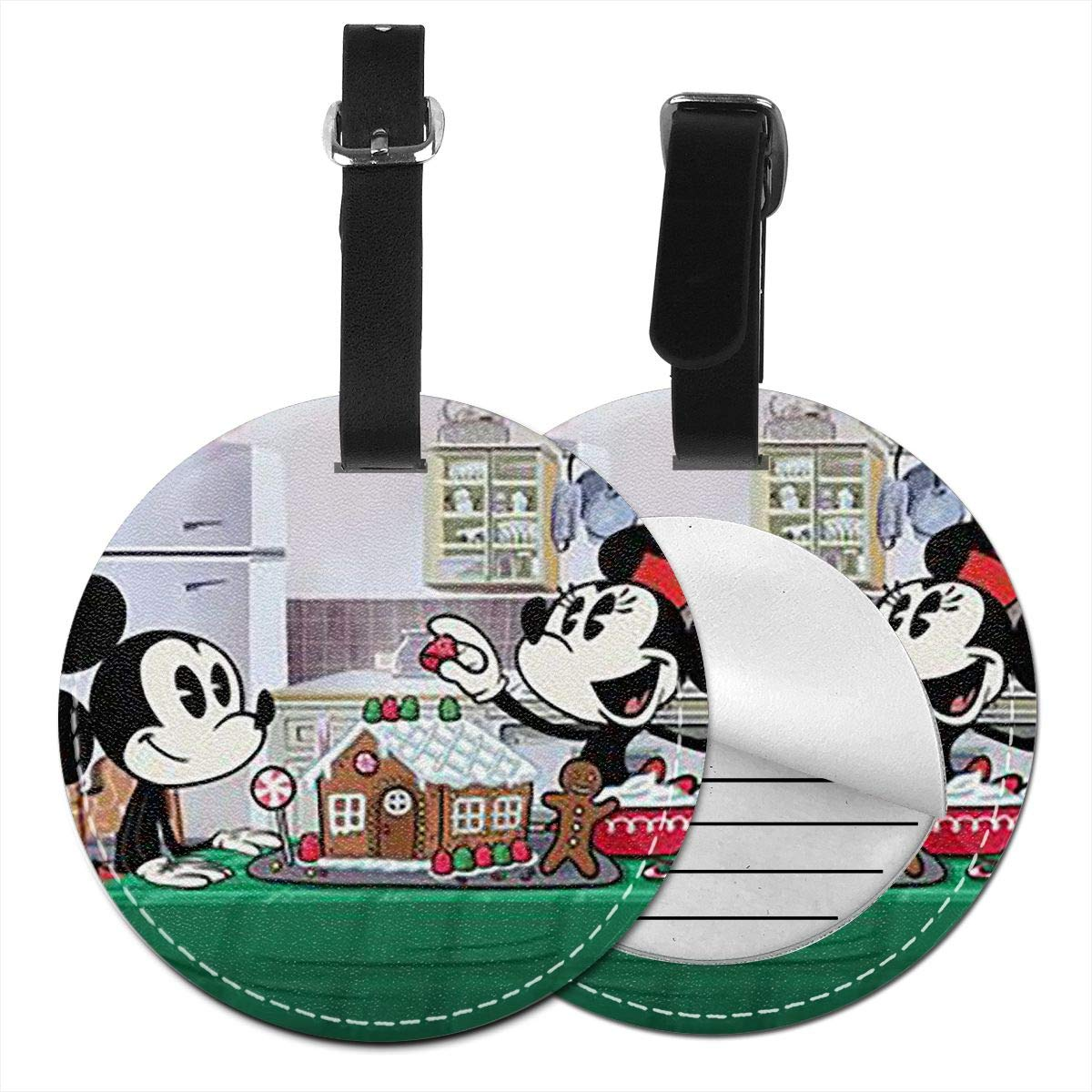 WEIBING Round Luggage TagThere is Dinner Time Mickey Mouse Luggage Tags Suitcase Labels Bag Travel Accessories