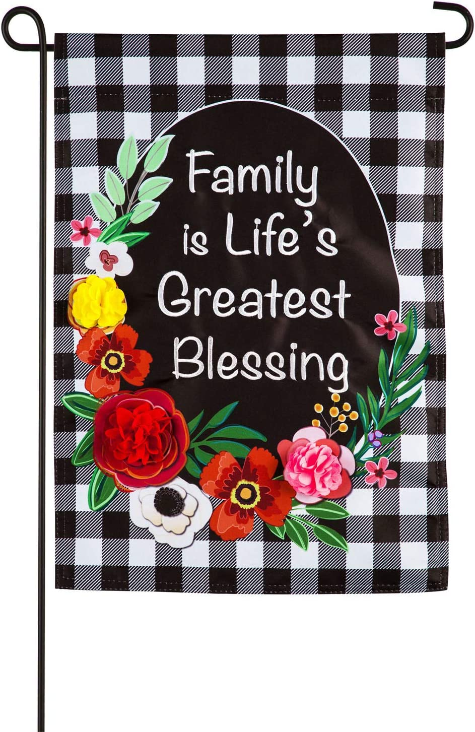 Evergreen Flag Indoor Outdoor Décor for Homes Gardens and Yards Family is Life's Greatest Blessing Garden Applique Flag
