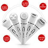 Kemei 5 in 1 Beauty Tool Kit, Facial Cleansing Brush Body Epilator Lady Shaver Face Massager Foot Dead Skin Callus Remover