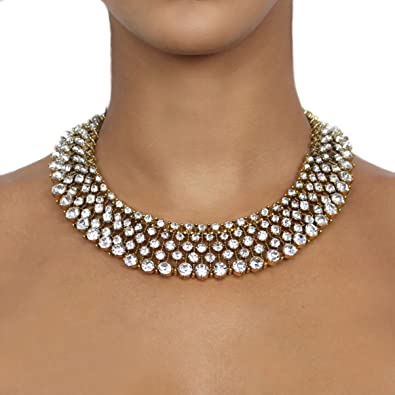 Nikita By Niki White And Gold Luxury Crystal Statement Rhinestone Necklace FBHZtDE