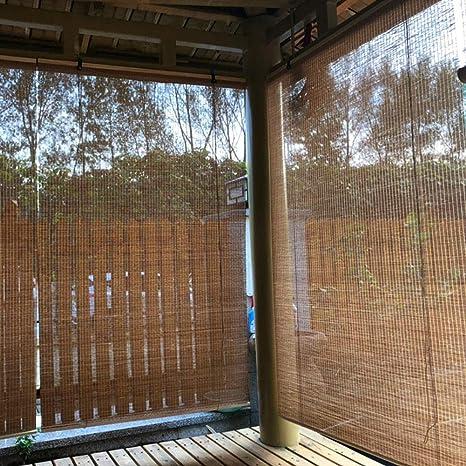 FF Estores enrollables Cortinas enrollables Exterior Opacas, Persianas de Madera externas for Pabellón Pergola Patio, fácil de Instalar, Ancha 60/80/100/120/130/140 cm (Size : 100×220cm): Amazon.es: Hogar