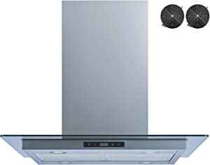 Winflo 30 In. 520 CFM Convertible Stainless Steel Glass Island Range Hood with Mesh Filters, 2 pcs Charcoal Filters and Touch Sensor Control