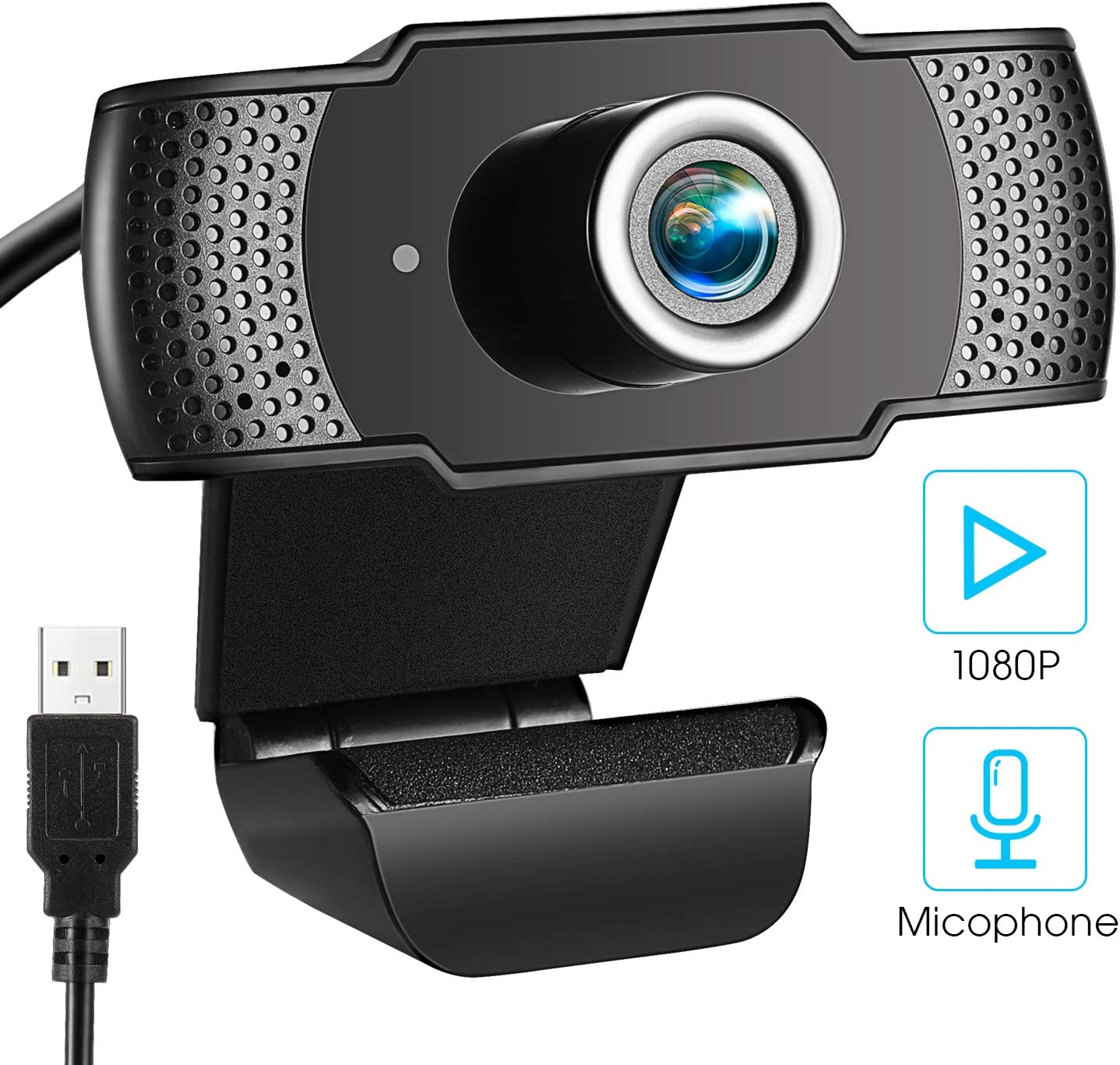 1080P Webcam with Microphone, Full HD Streaming Webcam Desktop Computer Camera Widescreen USB Camera Auto Light Correction Fixed Focus for Skype/YouTube/Zoom/Facetime Video Conferencing, Recording