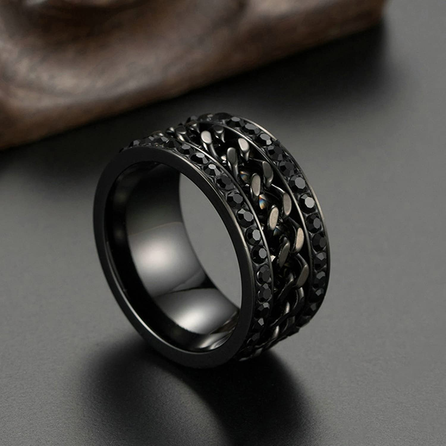 Bishilin Stainless Steel Rings for Him Necklace with Cubic Zirconia Wedding Rings Size 9