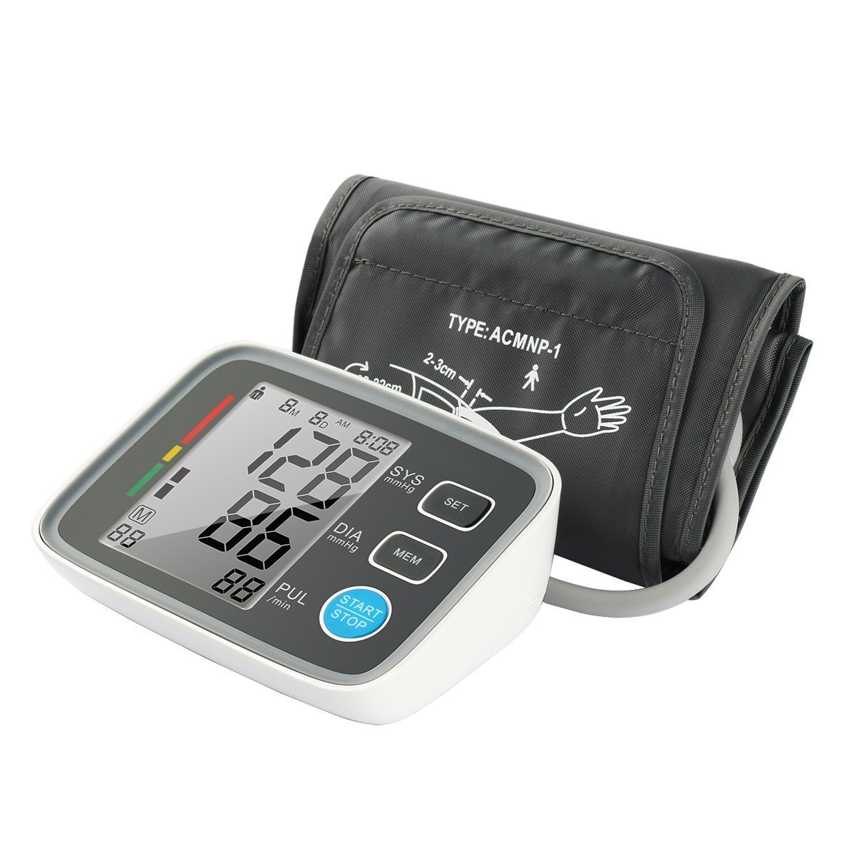 Fam-health Automatic Digital Upper Arm Blood Pressure Monitor Clinically Validated Sphygmomanometer Grey