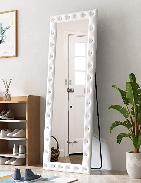 Amazon Com Full Length Long Mirror Floor Mirror Hanging Standing Wall Mirror Full Body Mirror For Bedroom Living Room Crystal With Leather Frame 65 22 White Kitchen Dining