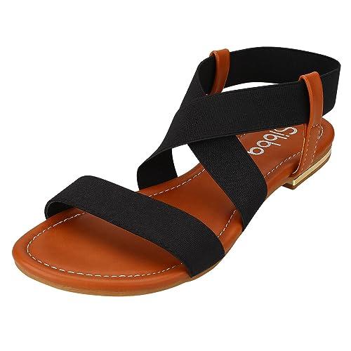 Sibba Damen Flache Elastische Sandalen Offene Zehen Klassische Sommerschuhe Schwarz