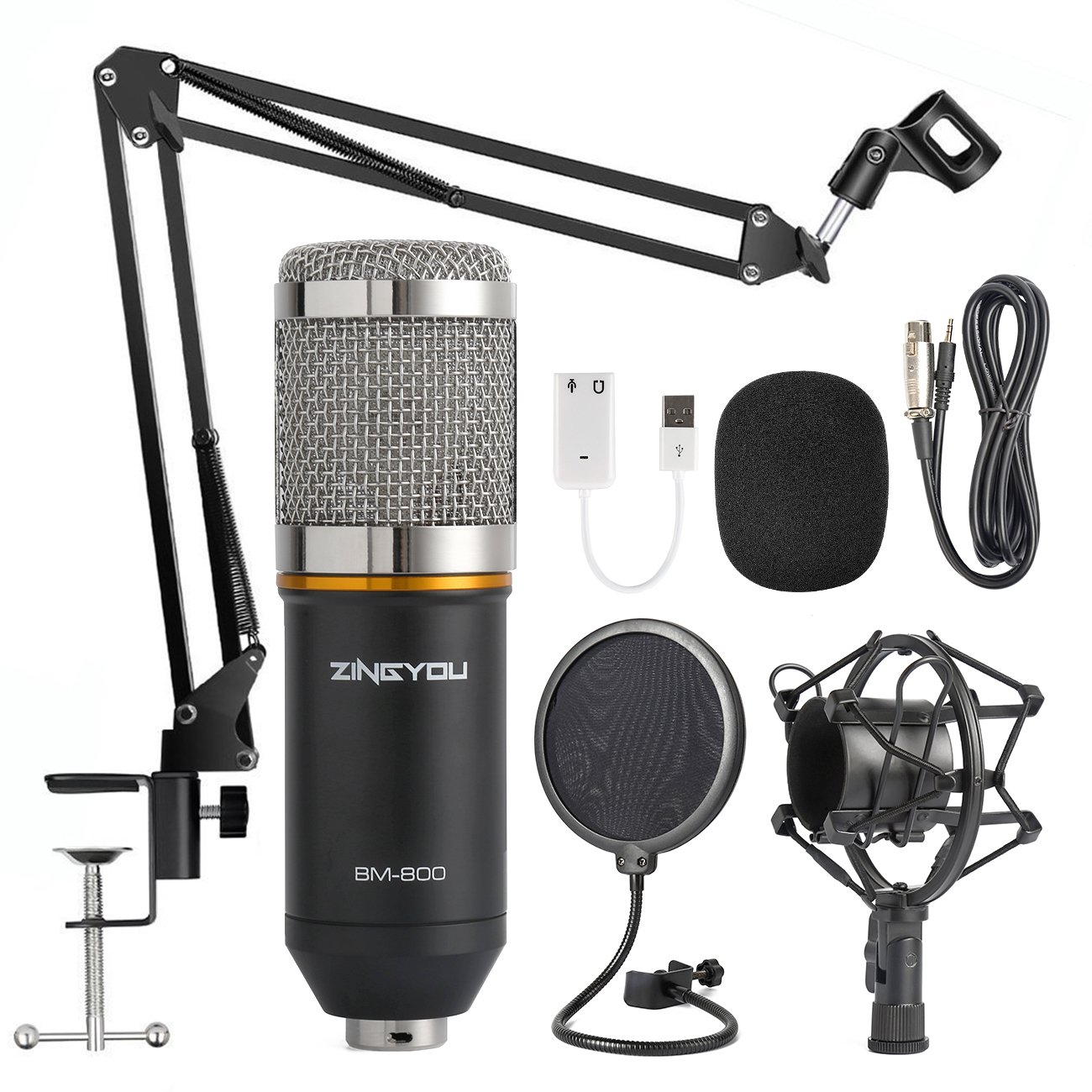 ZINGYOU Condenser Microphone Bundle, BM-800 Mic Kit with Adjustable Mic Suspension Scissor Arm, Shock Mount and Double-layer Pop Filter for Studio Recording & Brocasting (BM-800 Microphone Bundle) by ZINGYOU