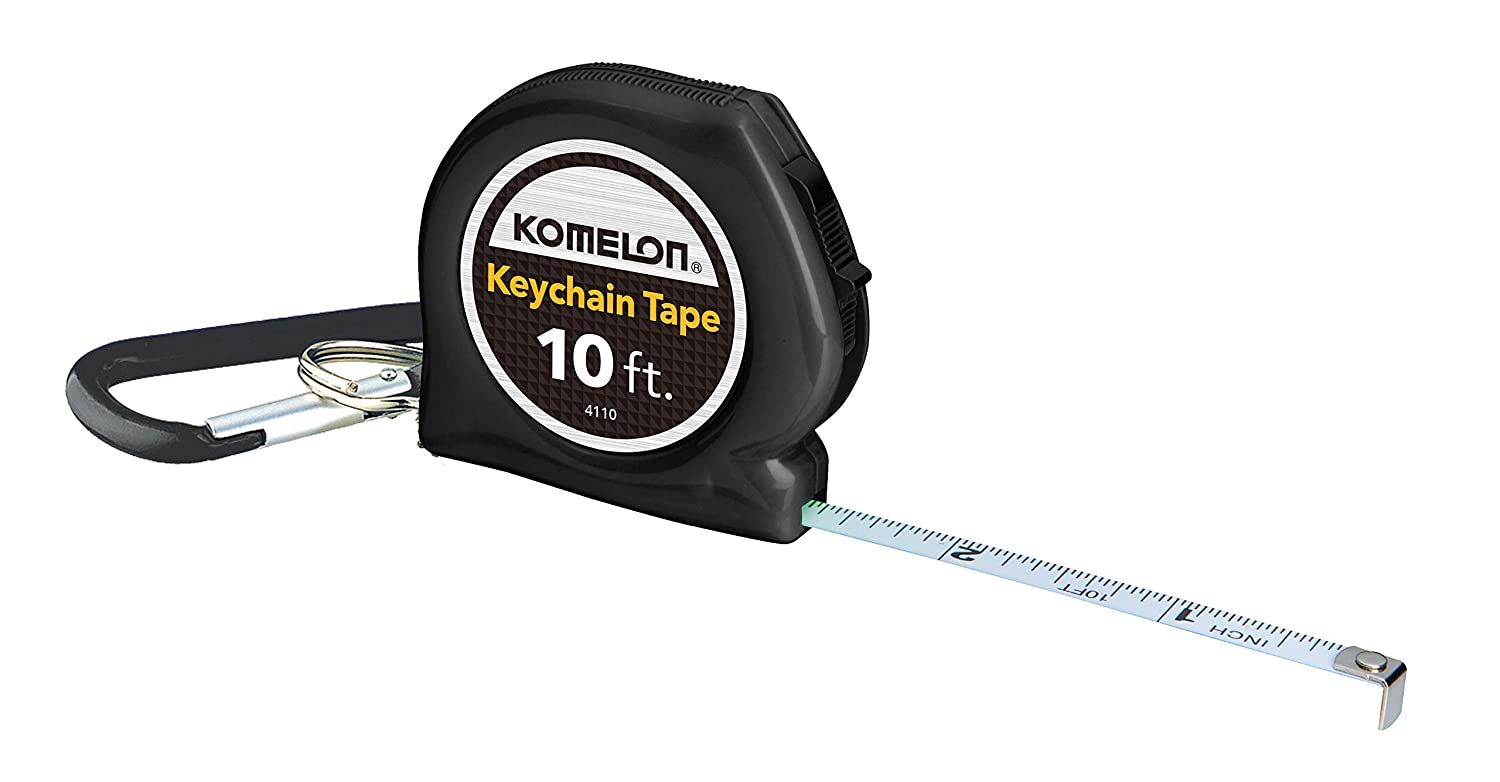 Komelon 4110CS Keychain Tape Measure Acrylic Coated Steel Blade 10 ft by 1 4 Inch Black