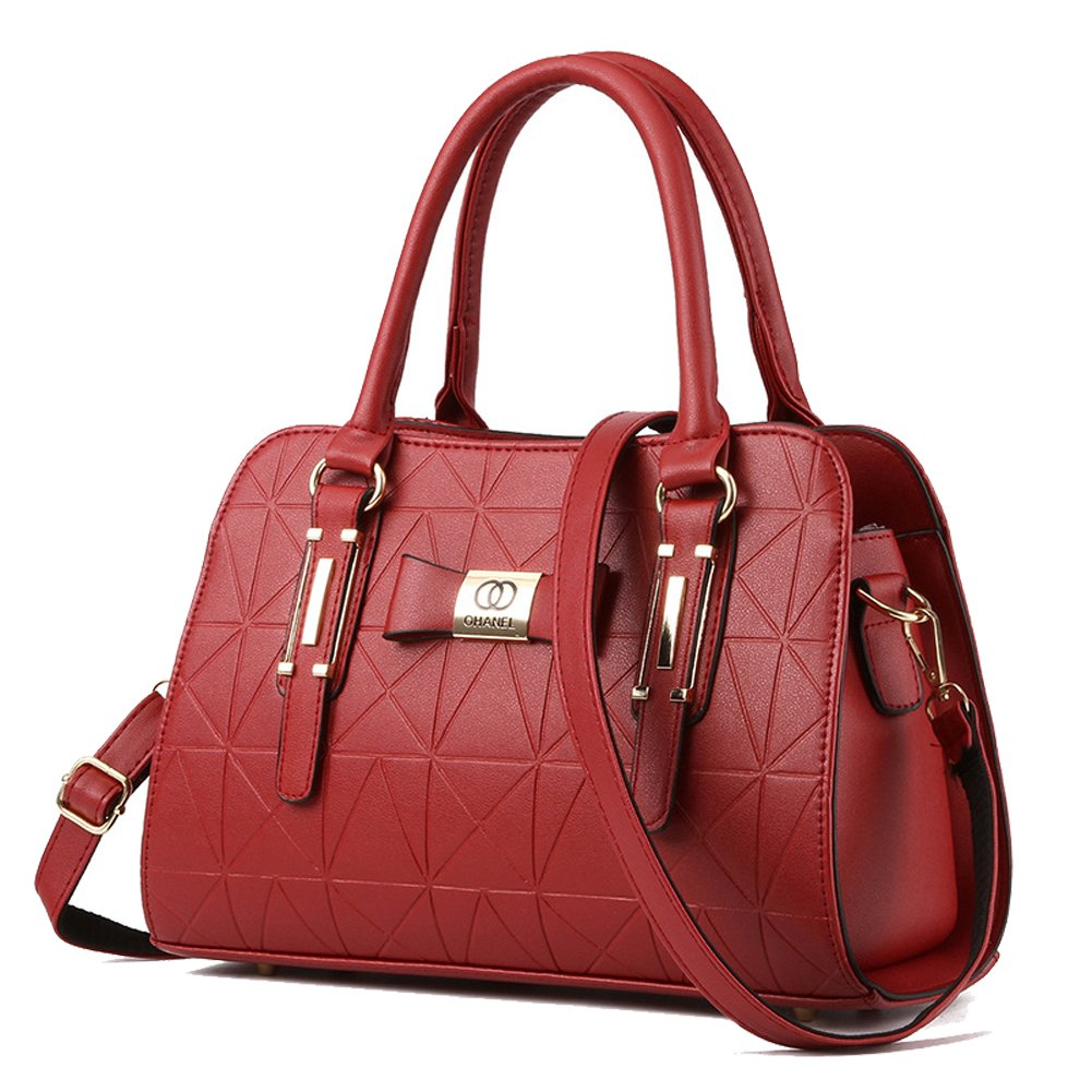 YiYiNoe PU Leather Womens Handbag Top Handle Satchel Handbags Tote Purse for Lady Black CZ-DONGF-ABKB