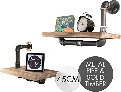 Industrial Pipe Shelf 2 Layer Pipe Design Rustic Wood Ladder Bookshelf DIY Wall Shelving
