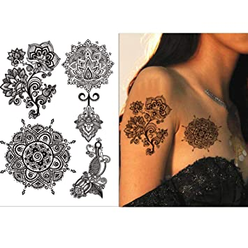 e36654ba5 ... Finger Eyes Arm Wrist Black Lace Mehndi Temporary Tattoos, Elephant  Temporary Body Art Tattoos with Wedding Bridal Butterfly Mandala Flower :  Beauty