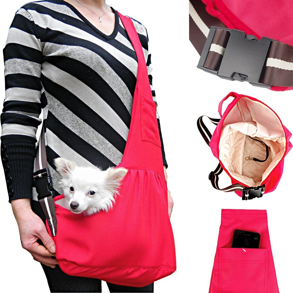Luxmo Hands-free Oxford Carrier Sling Portable Pet Shoulder Bag with Built-in Hook for Dogs, Cats Puppy Kitty Rabbit Hot Red Size: L
