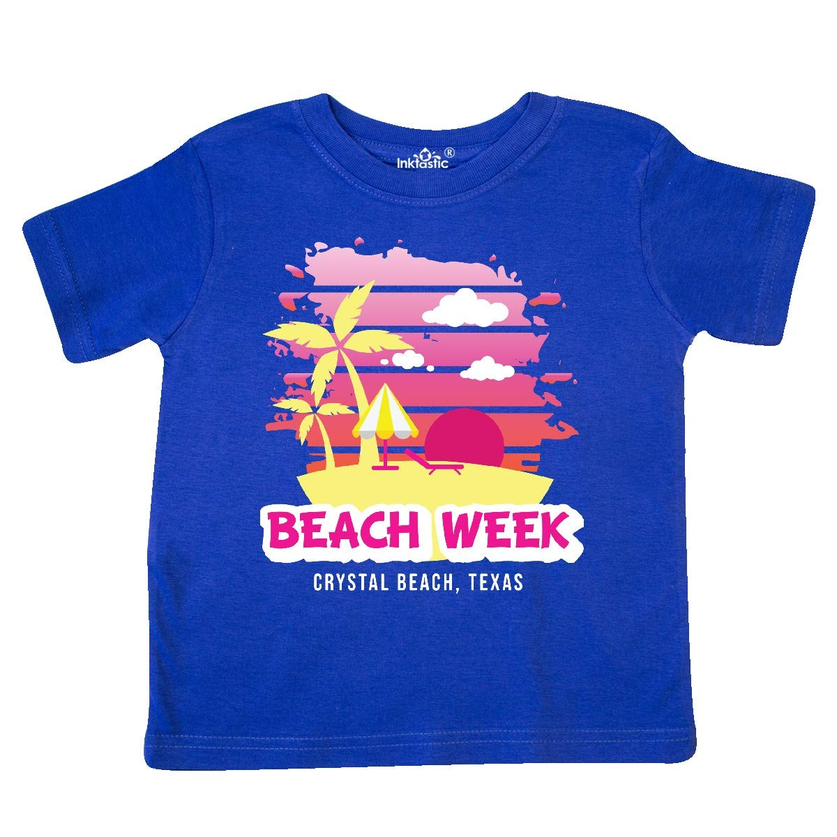 inktastic Beach Week Crystal Beach Texas with Palm Trees Toddler T-Shirt