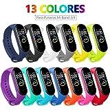 BANGTING 13 PCS Correa Compatible con Pulseras Xiaomi Mi Band 3/4, Correas para Fundas Mi Band 3 Mi Inteligente Band 4…