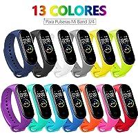 13 PCS Correa Compatible con Pulseras Xiaomi Mi Band 3 / 4, Bangting Correas para Fundas Mi Band 3 Mi Inteligente Band 4 Pulsera Reloj Silicona Banda Reemplazo