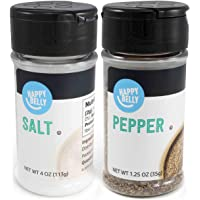 Amazon Brand - Happy Belly Salt and Pepper Set, 4 Ounces Salt and 1.25 Ounces Pepper