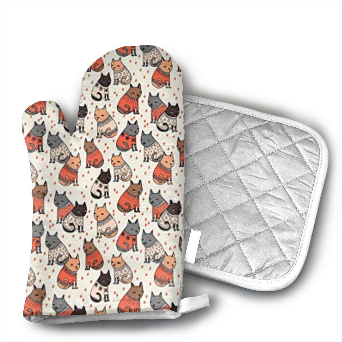 WAWAJD Holiday Christmas Cats Wearing Sweaters Oven Mitts with Thermal Pads for Cooking, Baking, BBQ, Non-Slip Kitchen