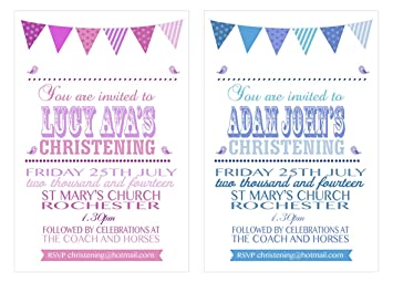 20 personalised vintage bunting text christening or baptism