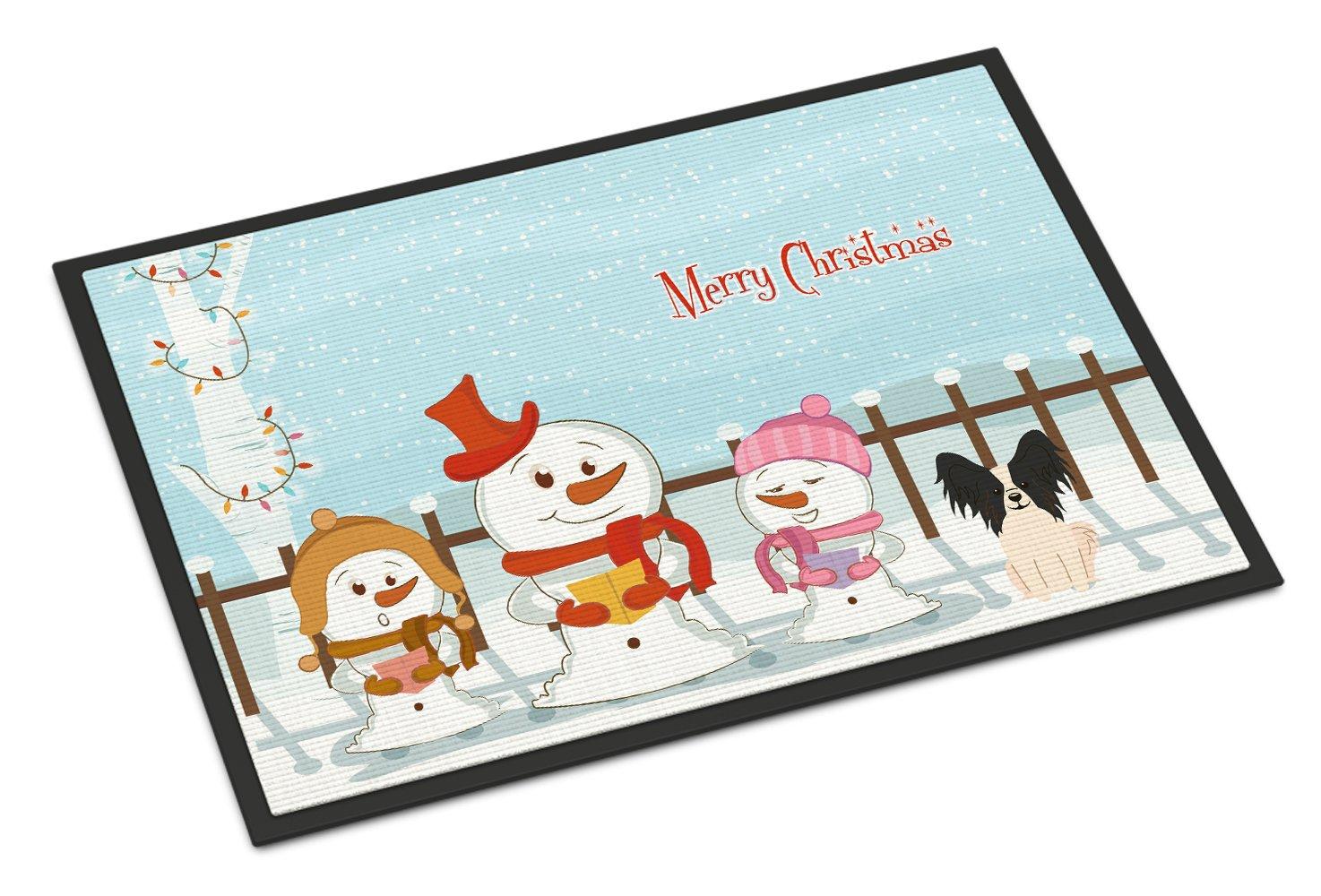 Caroline's Treasures Merry Christmas Carolers Papillon Black White Indoor or Outdoor Mat 24x36 BB2407JMAT 24 x 36' Multicolor