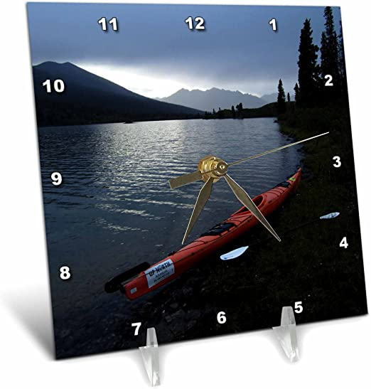 6 by 6-Inch 3dRose dc/_28573/_1 Kayak Resting on The Shore of Lapie Lake at Night-Desk Clock
